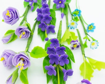 Violet in Spring, Miniature Handcrafted Polymer Clay Flowers Supply set of 12 bunches