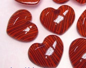 4 Puff Heart with Abstract Stripes Lucite Cabochons