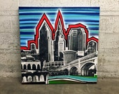 Large Downtown Cleveland Landscape Painting No. 26 on Canvas 36 x 36