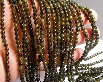 Golden Black Obsidian - 4 mm round beads -1 full strand - 97 beads - RFG227
