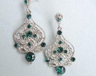 Bridal Earrings Crystal Chandelier Earrings Green Earrings Victorian Earrings Bridal Rhinestone Earrings Statement Bridal Earrings STELLA