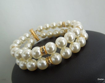 Bridal Pearl Bracelet,Ivory Swarovski Pearls,Classic Wedding Pearl Bracelet,Gold Bridal Bracelet,Rhinestone Pearl Bridal Bracelet,Cuuf,RENEE
