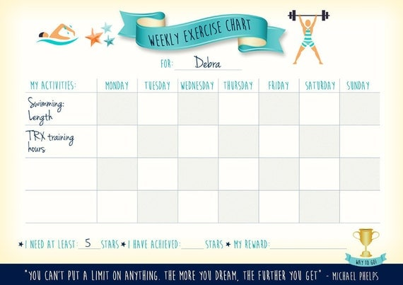 personalized editable printable weekly exercise chart