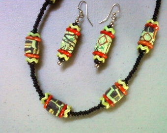 Black, Apple Green and Burnt Orange Ethnic Inspired Necklace and Earrings (1252)