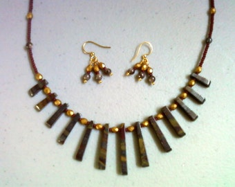 Maroon, brown and gold jasper necklace and earrings (0701)