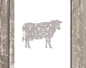 Decorative COW Art Print - Live Simply - Simple Modern Farmhouse Home Decor - More Colors and sizes!!