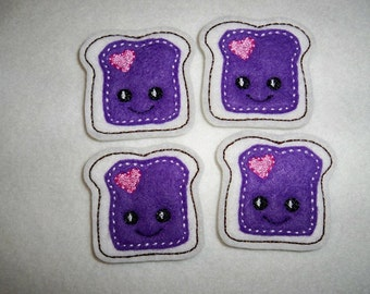 Feltie Machine Embroidered Hand made (4) Jelly Toast CUT Embellishments / appliques