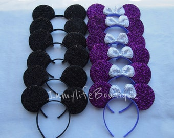 Lot of 20 Mickey & Minnie Mouse Ears Black and Purple Bow Shimmer Headband Sequin Birthday