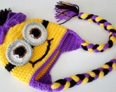 Crochet Girl Minion Hat-full or half smile-twins-adult-halloween costume- for Baby or Toddler-One Eyed Minion hat-baby halloween outfits