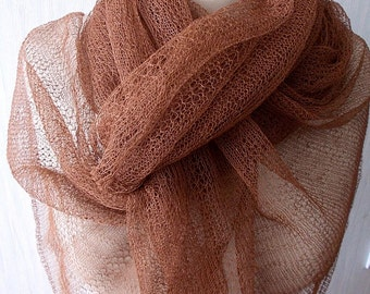 Linen Scarf Copper Brown Knitted Natural Spring Summer Shawl Lace Wrap Natural