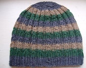 Hand Knit Beanie, Cute And Unique Hand Knit Superwash Merino Wool Hat, Striped Cable Beanie