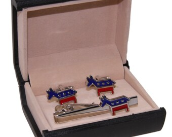 Men's Democrat Cuff Links and Tie Clip and Gift Box ~ Political