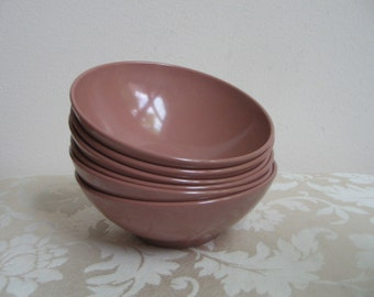 Vintage Melmac Bowls by Mar-Crest Melamine Set of Six In Brown Mocha Rose Pink, Mid Century Modern