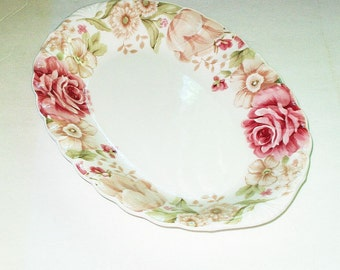 Vintage Nikko Tableware Summer Glade 14 Inch Oval Platter Pink Roses Romantic Shabby Chic Dinnerware Serving Plate Wedding Tea Service