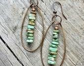 Green Turquoise Boho Earrings, Copper Hoop Earrings, Southwestern Jewelry