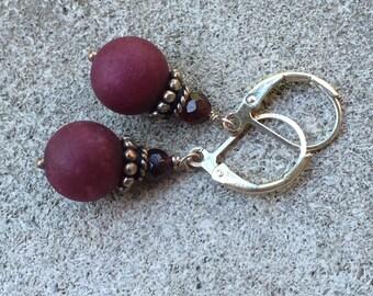 Ruby Red Jade and Garnet Dangle Earrings