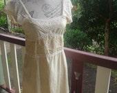 silk dollybird dress, vintage lace, small