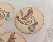 Boy Stork Stickers Baby Shower Envelope Seals Blue Set of 10