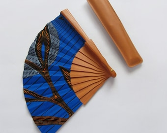Fine Wax Print hand fan with case - Kayin - Leaves on electric blue - african wedding hostess gift - urban fan