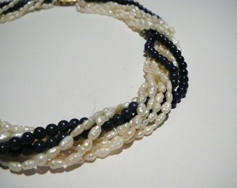 Vintage multi strand necklace blue lapis white fresh water pearl 16 inch choker