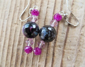 Purple Dangling Agate and Crystal Earrings