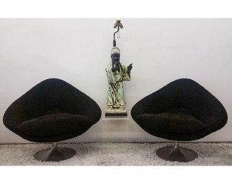 Large Mid-Century Diamond Lounge Chairs - A Pair