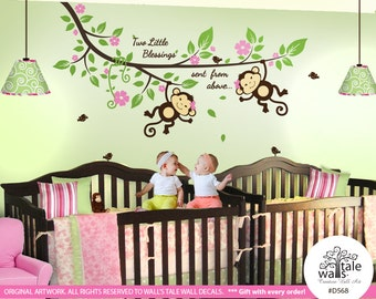 Twin Monkey wall decal with Blossom Tree branch, cute birds and a quote Two Little Blessings sent from above, jungle decal, pink - d568