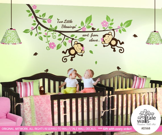 twin monkey wall decal with blossom tree branch cute birds and a