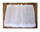 Romantic Ruffle Window Curtain, Bedroom Curtain, Sheers, White Linen  Curtain, Shabby Chic