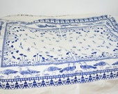 Vintage birds tablecloth -mod white and blue tablecloth large-Never used