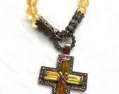 Citrine Yellow colored Crystal Glass beads and Marcasite Large Silver Cross Pendant Necklace Authentic True Vintage Jewelry High Quality wow