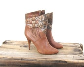 80s Ankle Booties Snakeskin and Brown Leather High Heels Size 6