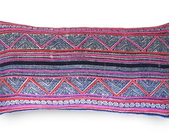 LIMITED 010 // Batik Indigo Pink Boho Pillow Cover - Vintage - 11x20 inch - Indigo - Hot PInk - Decorative Pillow - Vintage fabric - Boho