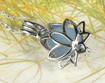 Lotus Necklace GENUINE Sea Glass Zen Yoga Jewelry Sterling Silver