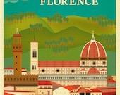 Florence Skyline Print, Florence art, Firenze skyline, Frienze Skyline, Firenze art, Italy Home Decor, Italy Print, Italian - style E8-O-FLO