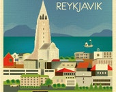 Reykjavik Skyline Art Print, Iceland Vertical print, Iceland  Art, Reykjavik Wall Art, Iceland Print, Loose Petals City Print style E8-O-REY