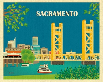 Sacramento Skyline Art Print, Sacramento Wall Art,  California State Capital, Tower Bridge, Horizontal Sacramento Art Print - style E8-O-SAC