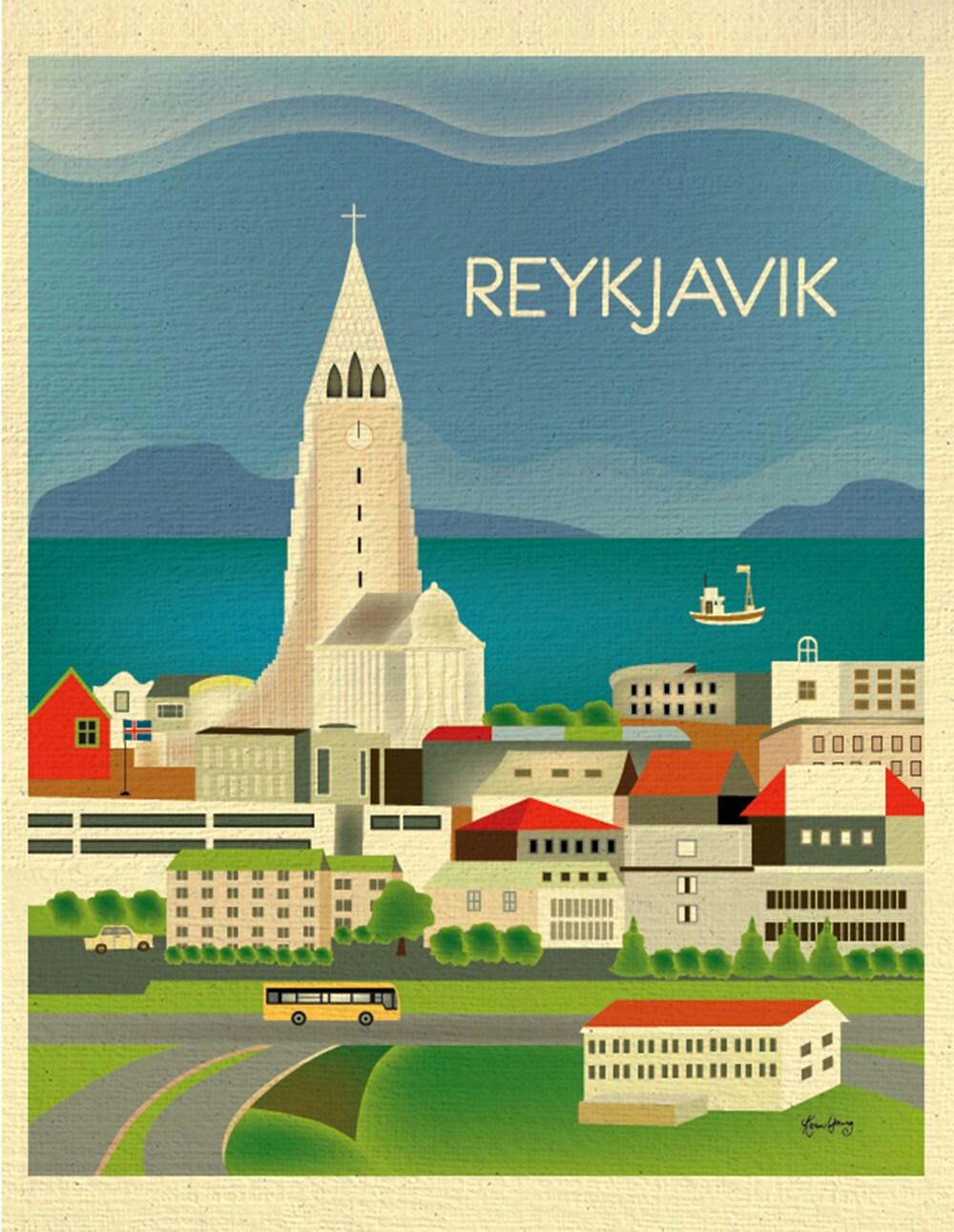 reykjavik skyline art print iceland vertical print iceland. Black Bedroom Furniture Sets. Home Design Ideas