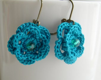 Crochet earrings - Teal Bridesmaid Earrings - Wedding earrings - Lace earrings - Teal Lace earringss - Made in America - Girlfriend gift