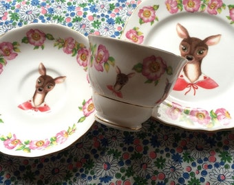 Little Pink Cape Deer Tea Cup and Saucer Set Trio