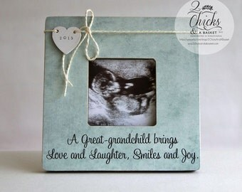 A Great Grandchild Brings Love And Laughter Smiles And Joy Personalized Picture Frame, New Great Grandparent Frame, Pregnancy Announcement