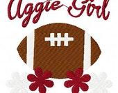 Aggie Girl Football Machine Embroidery Design Joyful Stitches // Joyful Stitches