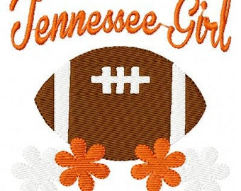 Tennessee Girl Football Machine Embroidery Design Joyful Stitches // Joyful Stitches