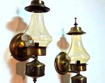 vintage brass sconces - 1960s-70s yellow glass sconces PAIR