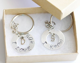 I love you I know Keychain, Personalized Gifts, Hand Stamped Keychain, Initial Keychain, Gift for her, Mother Daughter Gift, I love you Key