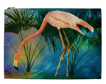 Pink Flamingo Travel Bag, Flamingo makeup pouch, vintage style flamingo bag, Vintage Flamingo print bag, Pink Flamingo Tropical cosmetic bag