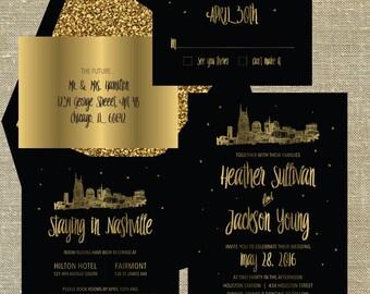 """Nashville Tennessee """"Lovetown"""" Wedding Suite gold foil on black card stock LETTERPRESS DEPOSIT LISTING"""