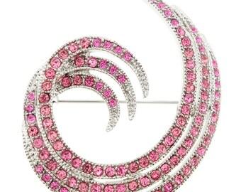 Pink Swirl Design Pin Brooch 1000202