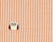 Owl Fabric Seersucker Fabric Orange Pinstripe Cute Kids Embroidery Fabric - 1 Yard