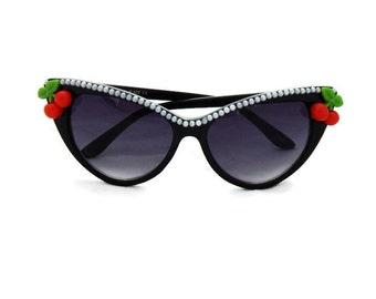 Rockabilly Cherry Cat Eye Sunglasses, Retro Sunglasses, Embellished Sunglasses, 50s Sunglasses, Pinup Sunglasses, Pearls and Cherries
